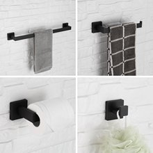 Bathroom Hardware Set Black Finish Towel Bath Set Wall Mounted Towel Holder Square 304 Stainless Steel Robe Hool Towel Rack Set free shipping towel racks luxury bathroom accesserries golden finish bath towel shelves towel bar bath hardware db008k 1