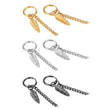 BONISKISS новые модные женские серьги-кольца с кисточками и перьями, ювелирные изделия из нержавеющей стали золотого цвета Aros Mujer Oreja