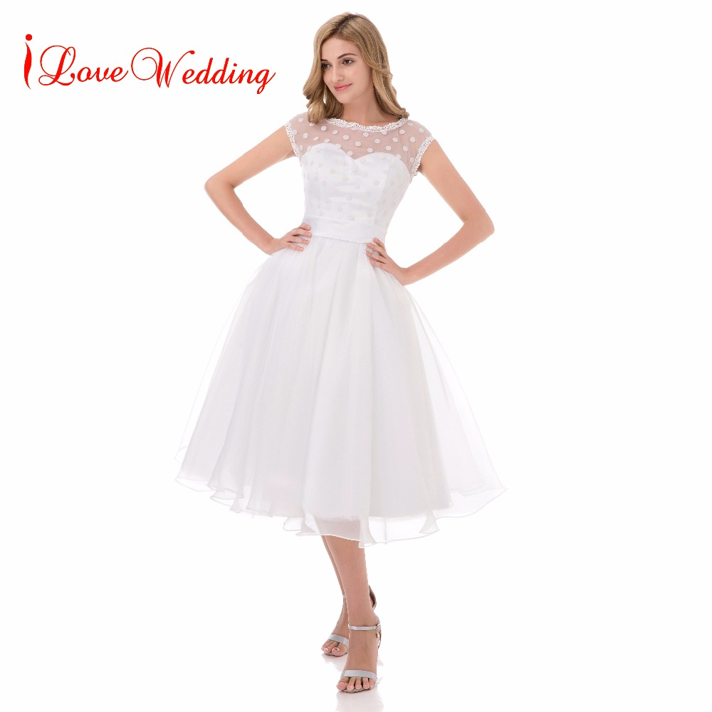 Vintage 1950s Short Wedding Dresses Scoop Neckline Wedding Gown Polka Dotted Vestido De Noiva White Bridal Dress Tea Length