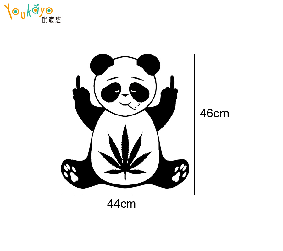 Hot pot leaf panda decal vinyl home decor hippie sticker middle finger in wall stickers from home garden on aliexpress com alibaba group