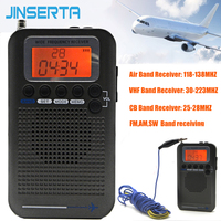JINSERTA Aircraft Full Band Radio VHF Receiver Portable Radio FM/AM/SW/CB World Band Stereo Recorder with Alarm Clock LCD Screen