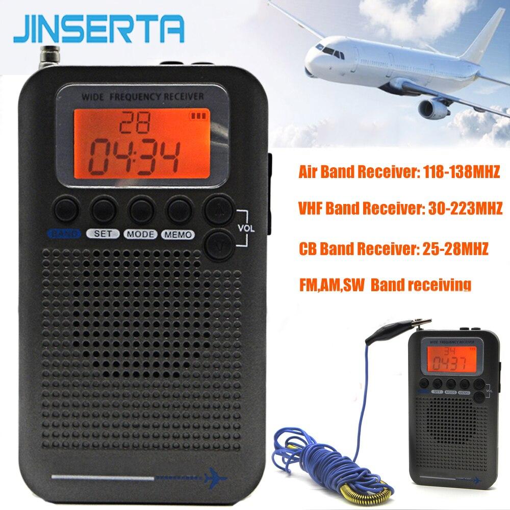 JINSERTA Avions Pleine Bande Radio VHF Récepteur Portable Radio FM/AM/SW/CB Monde Bande Stéréo Enregistreur avec Réveil LCD Écran