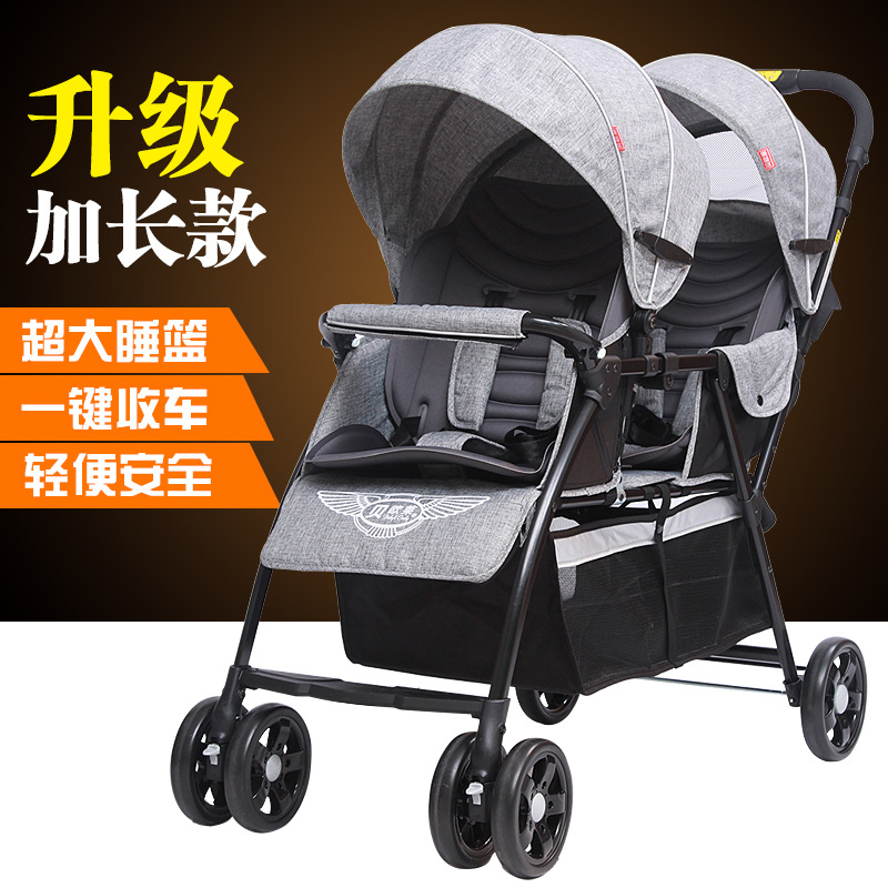 Twins Baby Stroller Front And Rear Baby Carriage  Light Two Carts Two Child Cart Lie Down kds twin baby stroller high landscape two baby trolley hand double fold front and rear can lie luxury umbrella carts