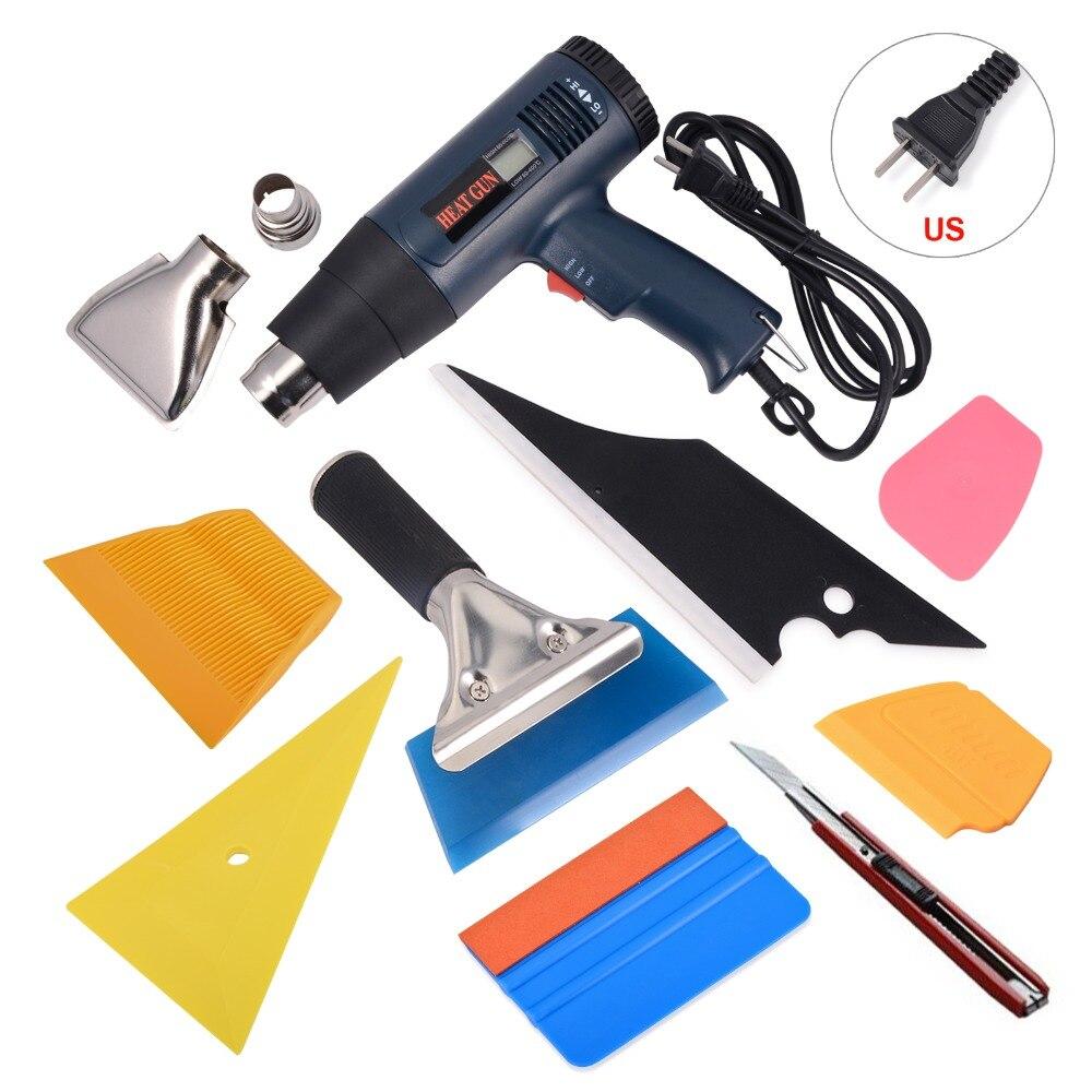 EHDIS 9 pièces kit d'outils d'installation de véhicule pistolet à Air chaud Film de vinyle Film de voiture nettoyage raclette grattoir à glace