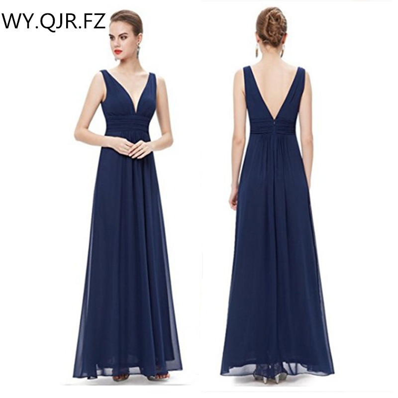 SYX1063Z#Dark blue Chiffon Double V collar Long   Bridesmaid     Dresses   Bohemia wedding party   dress   gown prom wholesale clothing