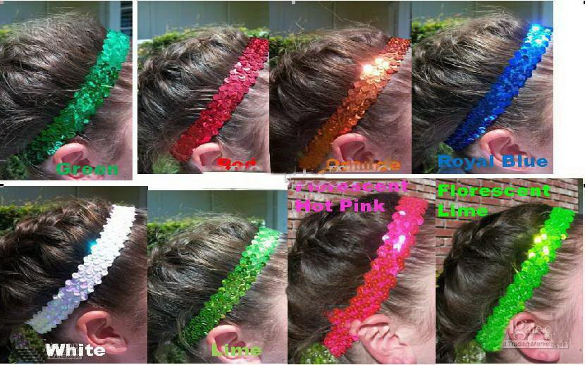 Разноцветные 500 шт. 1 ''повязки на голову с пайетками для девочек, эластичная повязка на голову с пайетками красного цвета