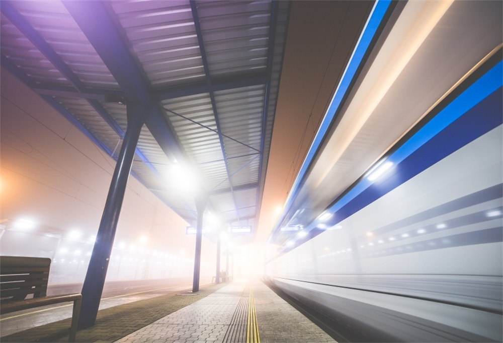 Laeacco Railway Station Dusk Scene Photography Backgrounds Customized Photographic Backdrops For Photo Studio