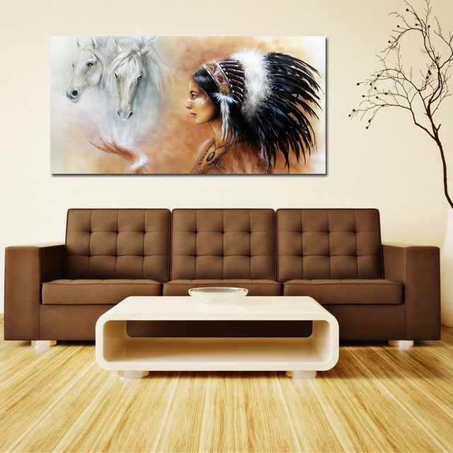 Oil Painting Art On Canvas Native American Huge Wall Decor Abstract Indians Frameless