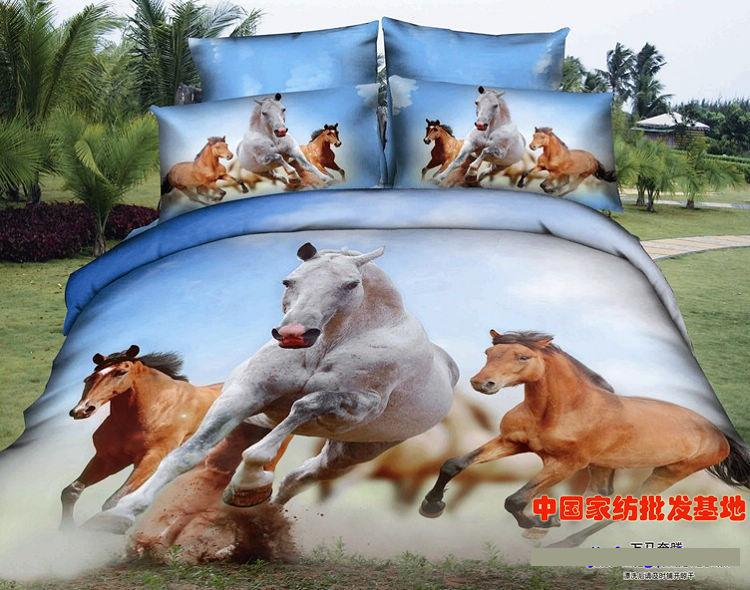 3D Horse Bedding Set Queen Size Quilt Duvet Covers Bed In A Bag Sheet 100% Cotton Bed Sheets Linen Spread Bedspread Bedset 4PCS