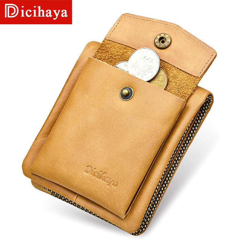 DICIHAYA Men Wallets Genuine Leather Casual Wallet for Men Short Standard Wallets with Coin Bag Card Holders Vintage Man Purse стоимость