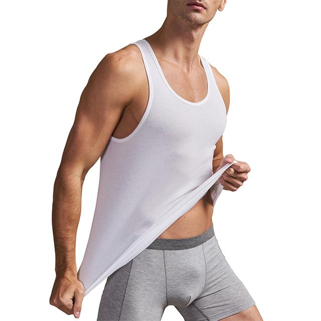THREEGUN 2pcs/pack Solid Seamless Undershirts O-Neck Basic Men Bodybuilding Sleeveless Tank Vest High Elastic Muscle Casual Top