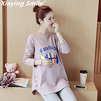 Xiaying Smile Women New Maternity Dress Female Fashion All Match Boat Neck Sexy loose Embroidery Striped Short Dresss Sleeve