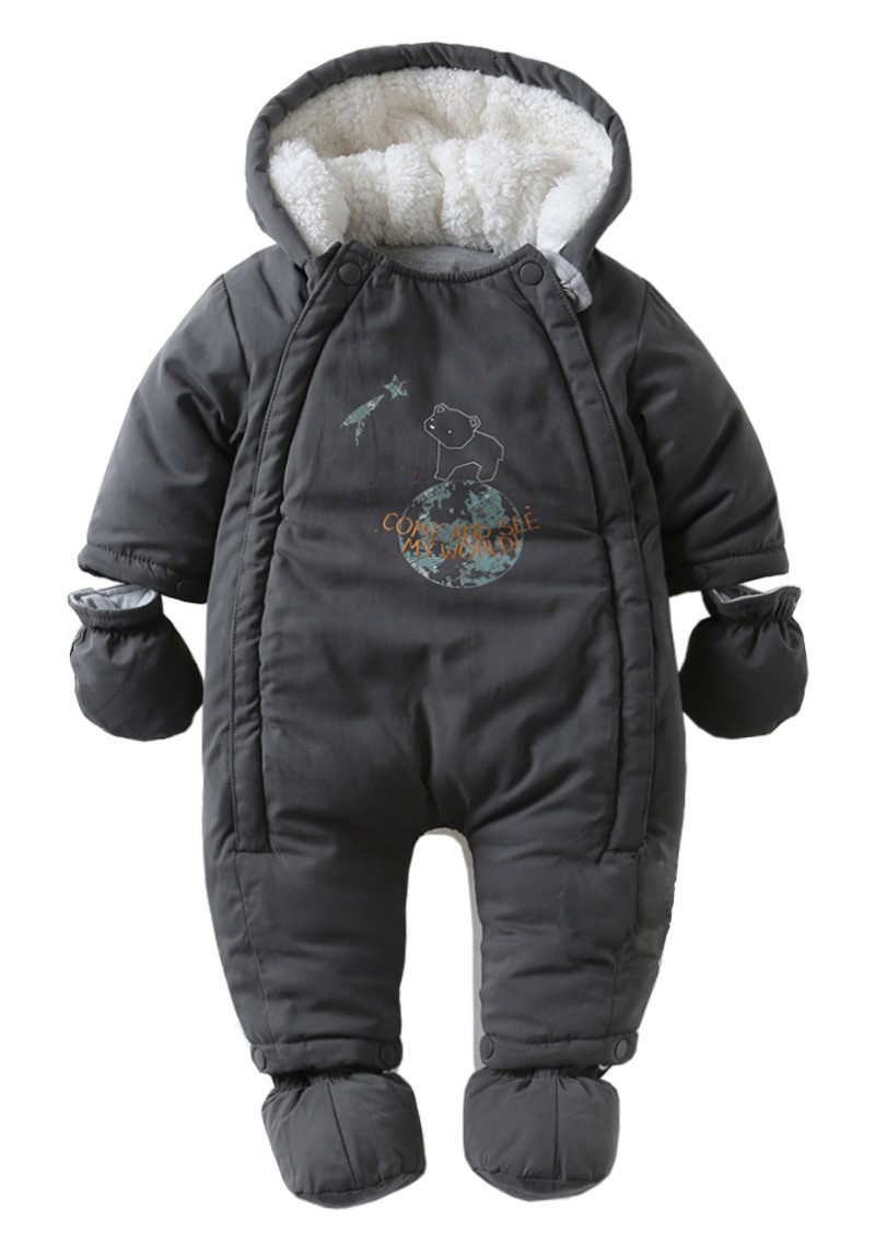 361e9b11b831 Winter Baby Clothes Baby Rompers Fleece cap white and black bear ...