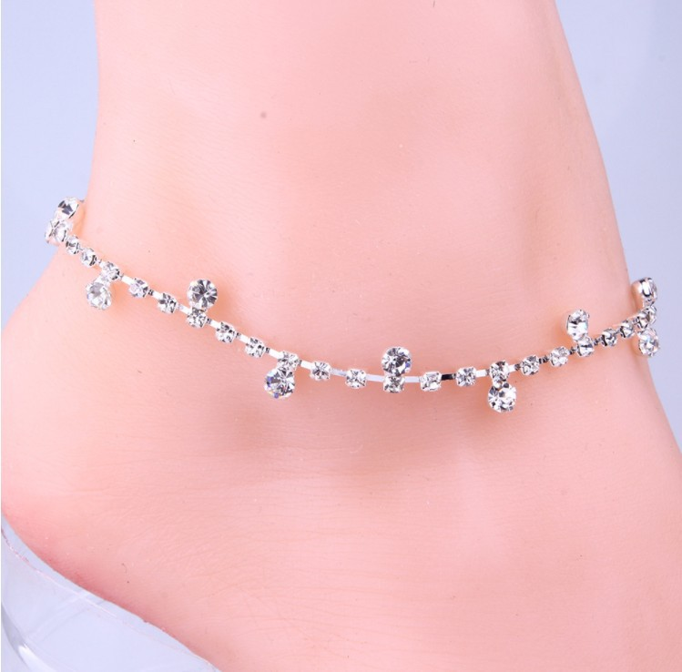 Explosion models encrusted anklet Korean small drill rhinestones in Anklets from Jewelry Accessories
