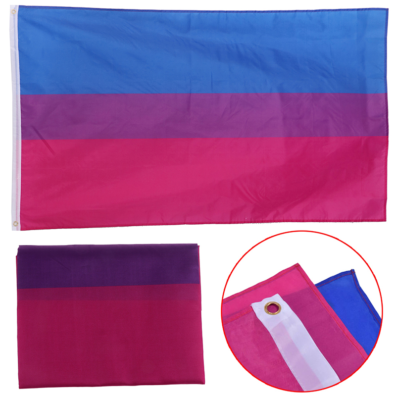 150*90 3x5 Ft Double Stitched <font><b>Bisexual</b></font> <font><b>Flag</b></font> <font><b>Pride</b></font> Banner Gay Lesbian LGBT Canvas Header image