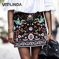 Vestlinda bohemian bordados mini saia casual primavera verão lápis de cintura alta mulheres saia vintage preto saias curtas florais