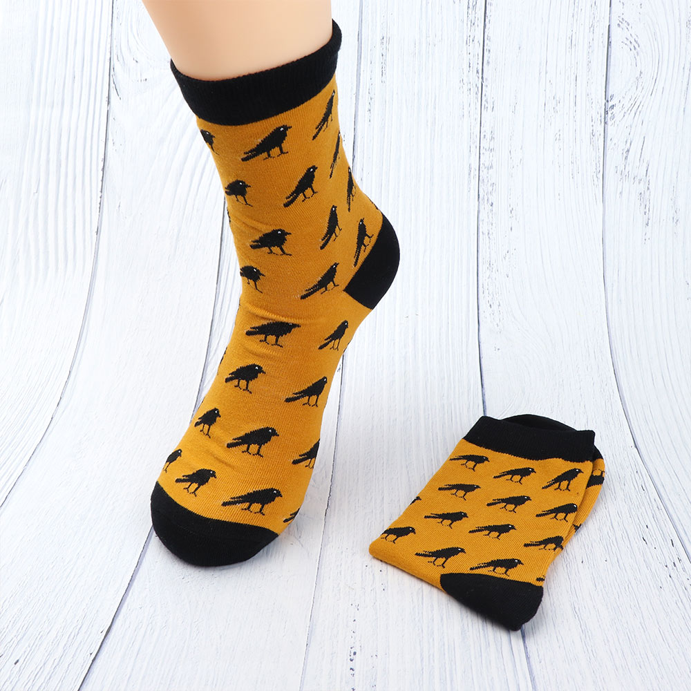 Fashion Colorful Cartoon Crow Pattern Socks For Men Male Comfortable Soft Warm Breathable Casual Sock