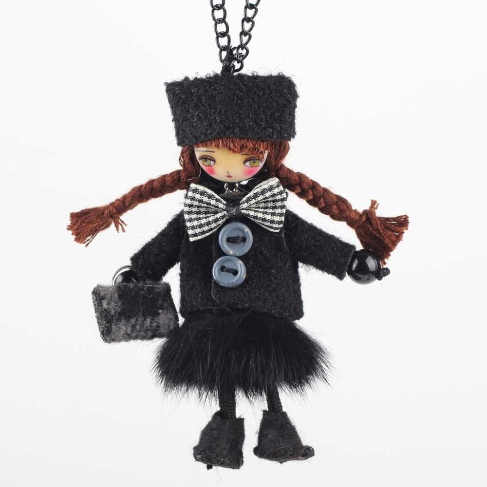 Bonsny ручной работы Кукольное ожерелье французский заявление длинный кулон 2015 Новинка зима модные ювелирные изделия для женщин аксессуары