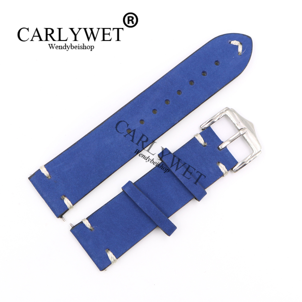 CARLYWET 20 22 24mm Wholesale Cowhide Suede Leather Dark Blue Replacement Vintage Watch Band Strap Belt With Polished Buckle napapijri guji check dark blue