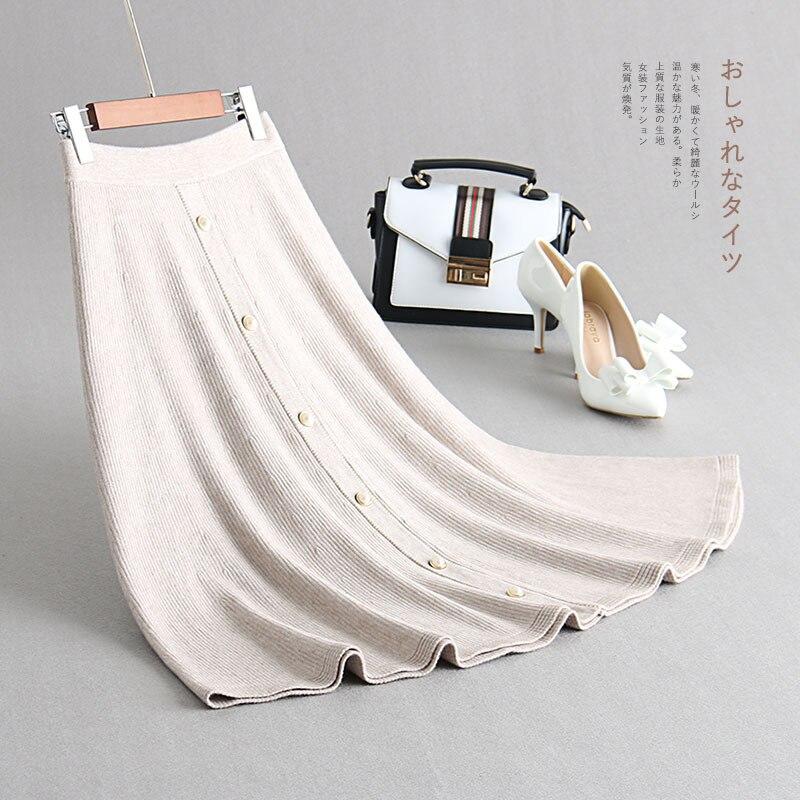 INNASOFAN Skirt Womens Autumn winter knitted warm skirt of high waist Euro American fashionable elegant skirt