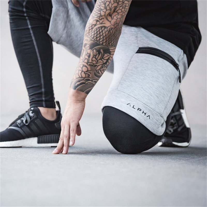 2019 Summer New Fashion Brand Men Gyms Shorts Zipper Patchwork Fitness Bodybuilding Short Pants Kneel Length Pants High Street