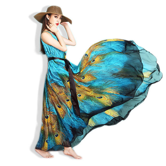 Bohemian A-line Long Chiffon Maxi Dress for Beach Casual Summer up to 4xl 5xl 6xl 7x