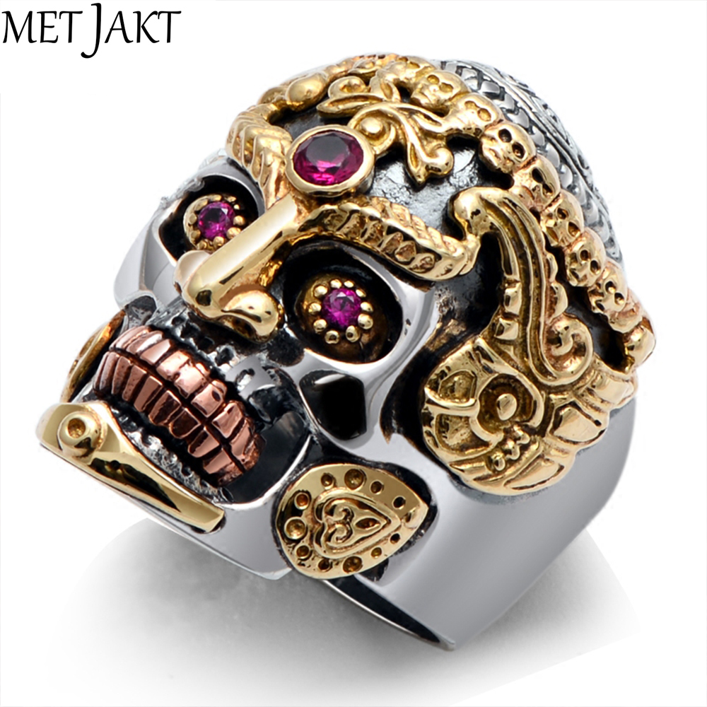 MetJakt Punk Rock Domineering Skull Rings Set In Red Corundum Solid 925 Sterling Silver Ring for Men Vintage Thai Silver Jewelry