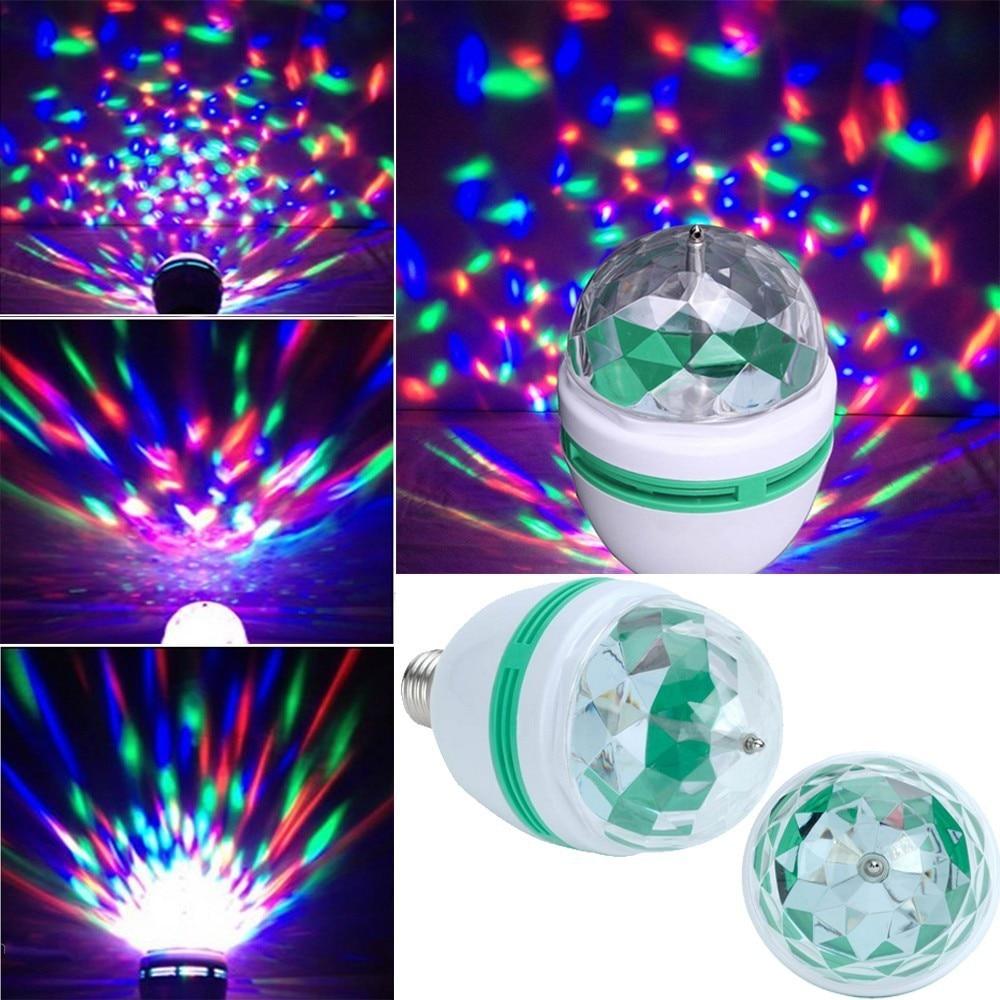 Abco Tech E27 Full Color Rotating Lamp Strobe Led Crystal
