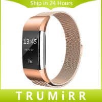 Original Milanese Loop Watch Band For Fitbit Charge 2 Magnetic Buckle Strap Link Belt Stainless Steel