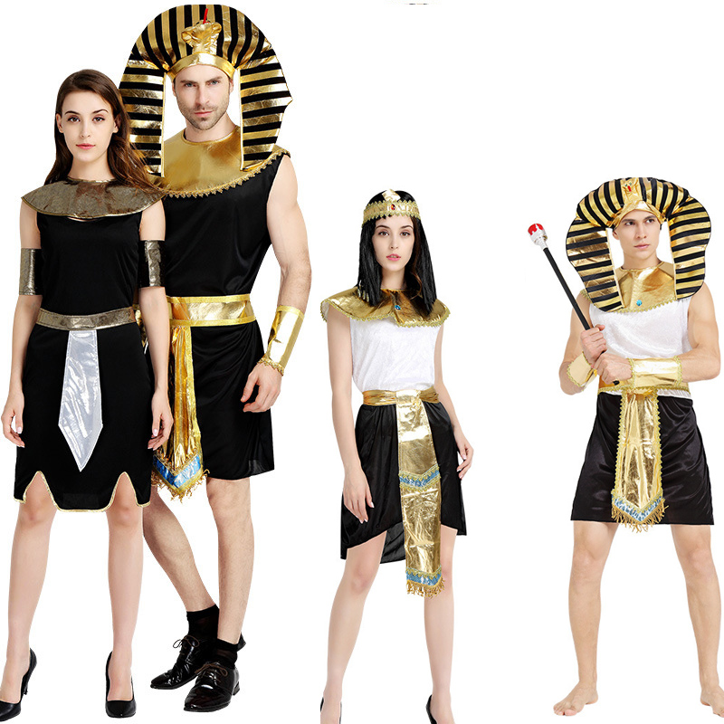 Women Men Egyptian Pharaoh Tutankhamun King Costume for Cleopatra Girl Halloween Party Costumes Traditional Egypt Egyptian queen