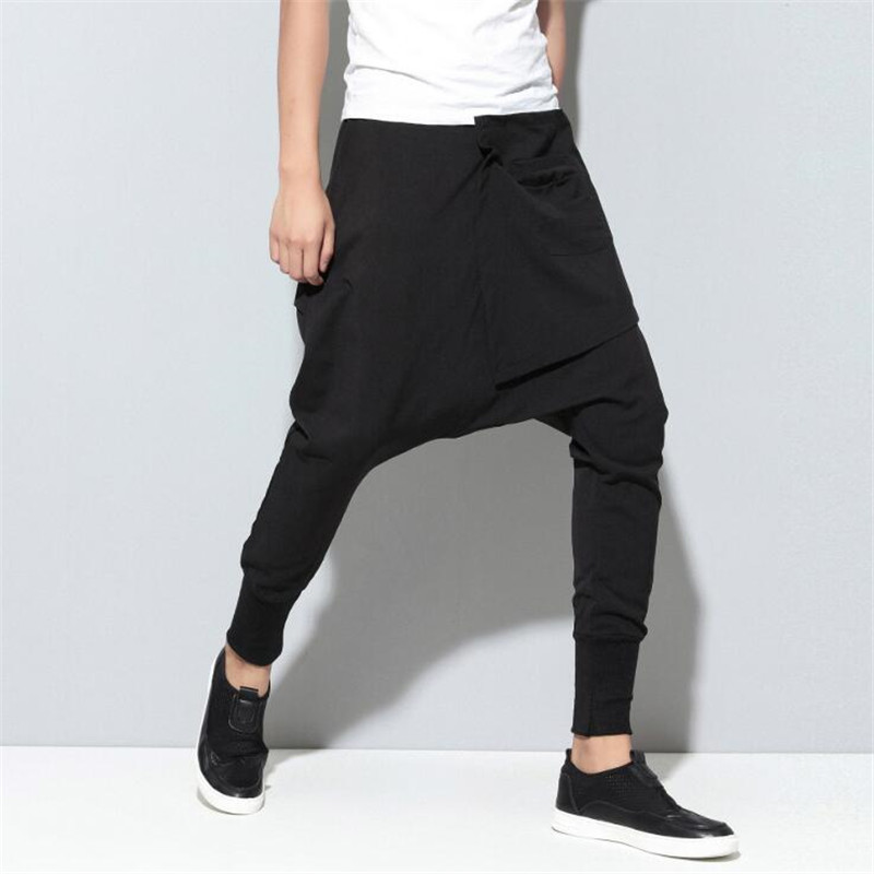 Trousers Men Harem-Pants Pocket Joggers Streetwear Patchwork Drop-Crotch Punk Hiphop