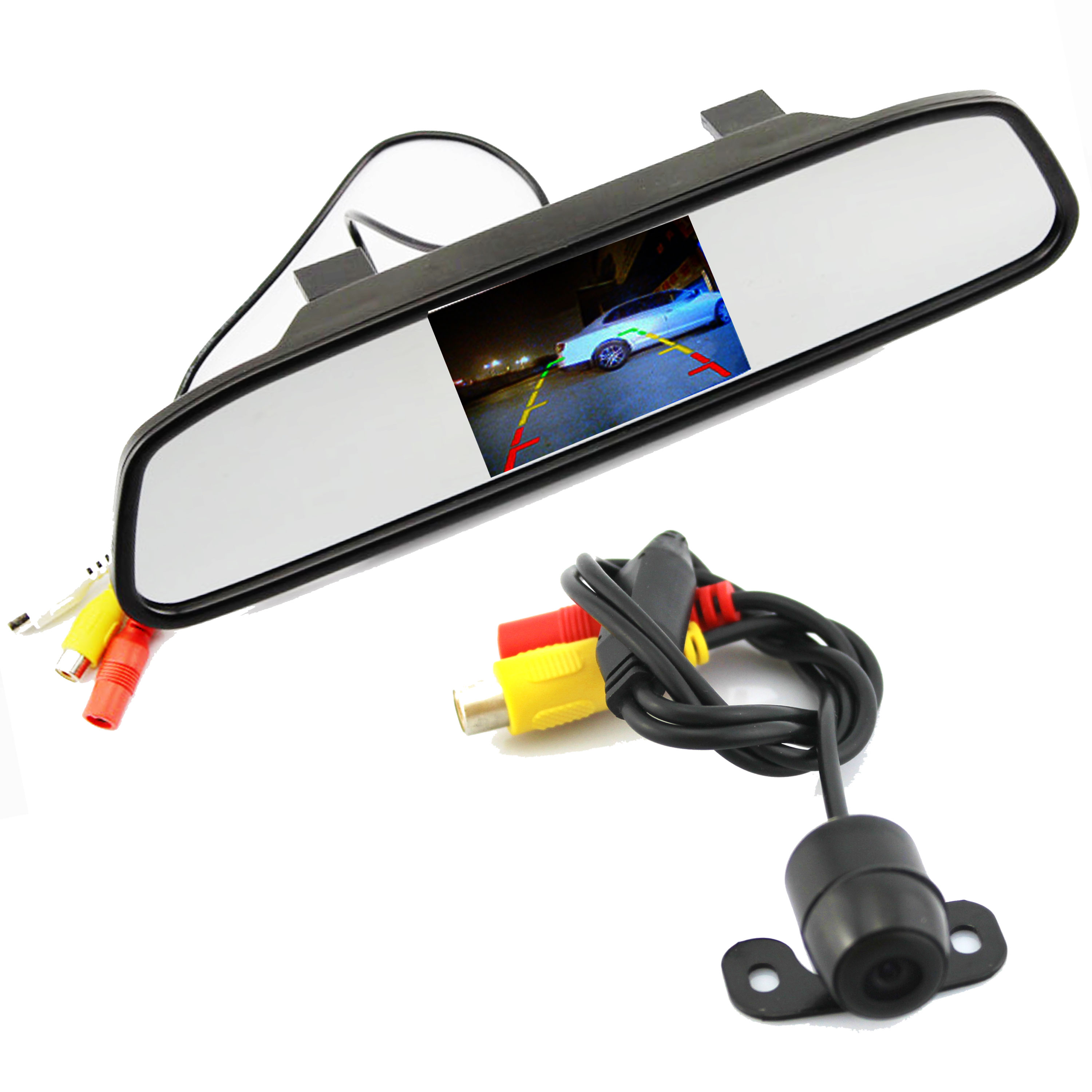 цена на Parking Assistance System 2 in 1 4.3/5 Digital TFT LCD Mirror Auto Car Parking Monitor + 170 Degrees Mini Car Rear view Camera