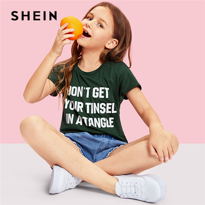 SHEIN Kiddie Green Letter Print Casual Girls T-Shirt Family Matching Clothes 2019 Summer Streetwear Short Sleeve Teenager Tees space print short sleeve t shirt