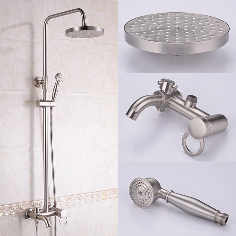 Bath Nickel Brush Shower Set 8