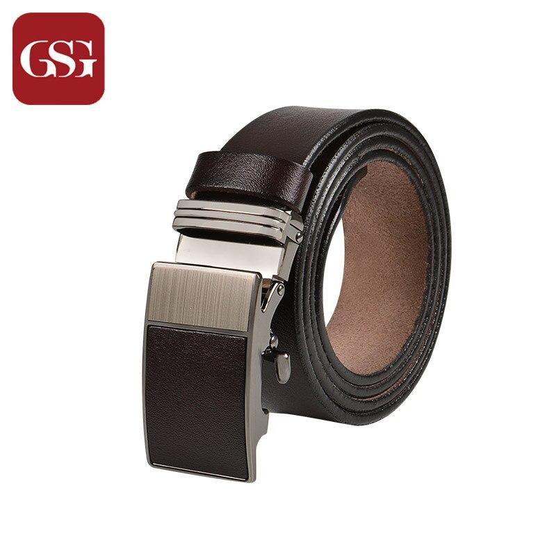 Inventive Gsg Men Brand Belt Cowhide Genuine Leather Mens Belt Automatic Buckle Black Leather Belts Jeans Belt For Men Male Punch Gift Box Apparel Accessories