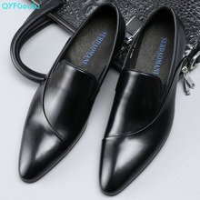 QYFCIOUFU Pointed Toe Mens Dress Shoes Fashion Luxury Italian Slip On Genuine Leather Formal Shoes Men Business Office Shoes christia bella italian green genuine leather men shoes fashion pointed toe slip on men dress shoes party business formal shoes