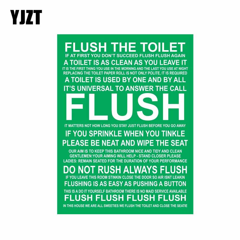 YJZT 12CM*16CM Funny Car Sticker FLUSH THE TOILET PVC Decal 12-0869