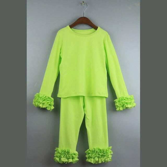 Lime green девушки обледенения туника футболки наборы st'partrick рябить брюки устанавливает девушка школа экипировка топ продаж