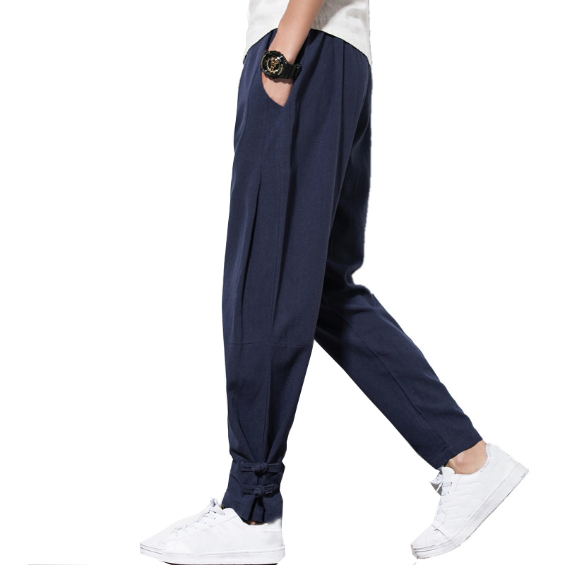 2018 otoño pantalones harén hombres 100% Lino puro pantalones cordón Lino de cáñamo pantalones Hip hop loose Vintage pantalones largos casual joggers