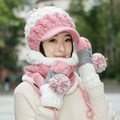 Knitted hat scarf muffler gloves three pieces set color block decoration muffler scarf girls winter birthday christmas gift