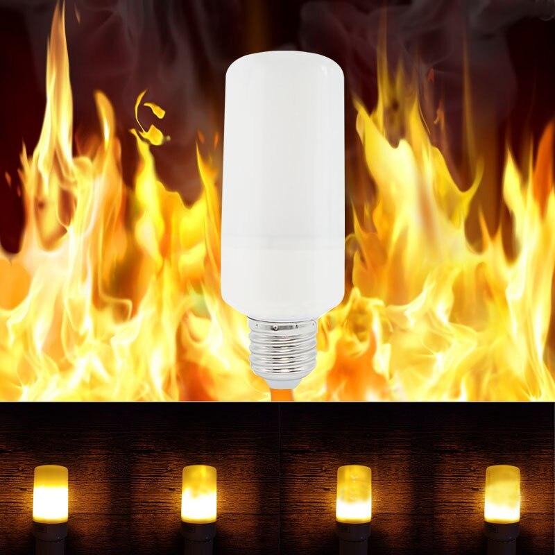 2017 New E27 E26 2835SMD LED lamp Flame Effect Fire Light Bulbs 7W Flickering Emulation flame Lights 1300K AC100-265V