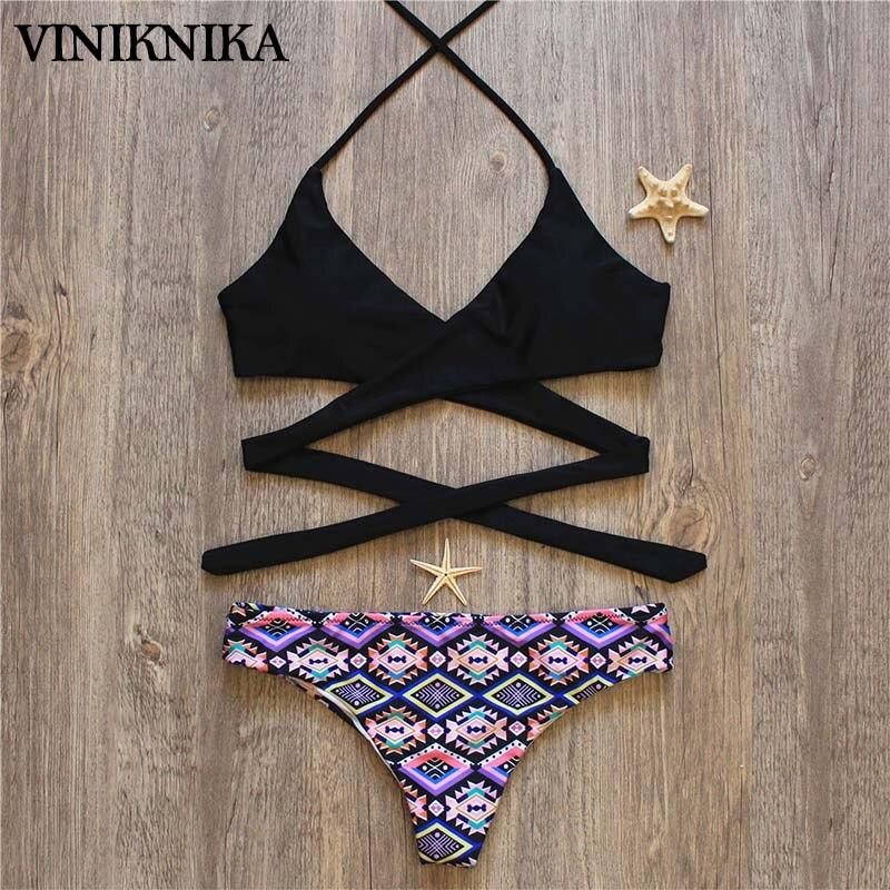 VINIKNIKA 2017 Hot Woman Bikini Swimsuit Sexy Lady Low Waist Cross Bikini Set New Summer Beach Brazil Swimwear 2
