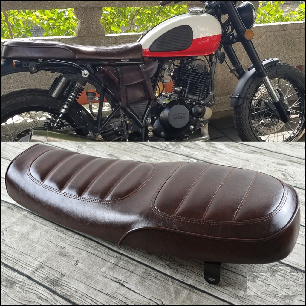Coj/ín de Asiento de Motocicleta marr/ón Almohadilla de Asiento de moto de Cuero de PU Vintage Cafe Racer Seat Coj/ín de Asiento Plano para CG125 GN CG CB400SS