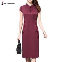 Большие размеры 4XL китайский Стиль High End шелковые Винтаж вышитые летнее платье Для женщин воротник с коротким рукавом один шаг платье P168