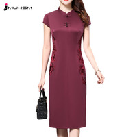 Plus size 4XL Chinese Style High End Silk Vintage Embroidered Summer Dress Women Collar Short Sleeve One Step Dress female P168