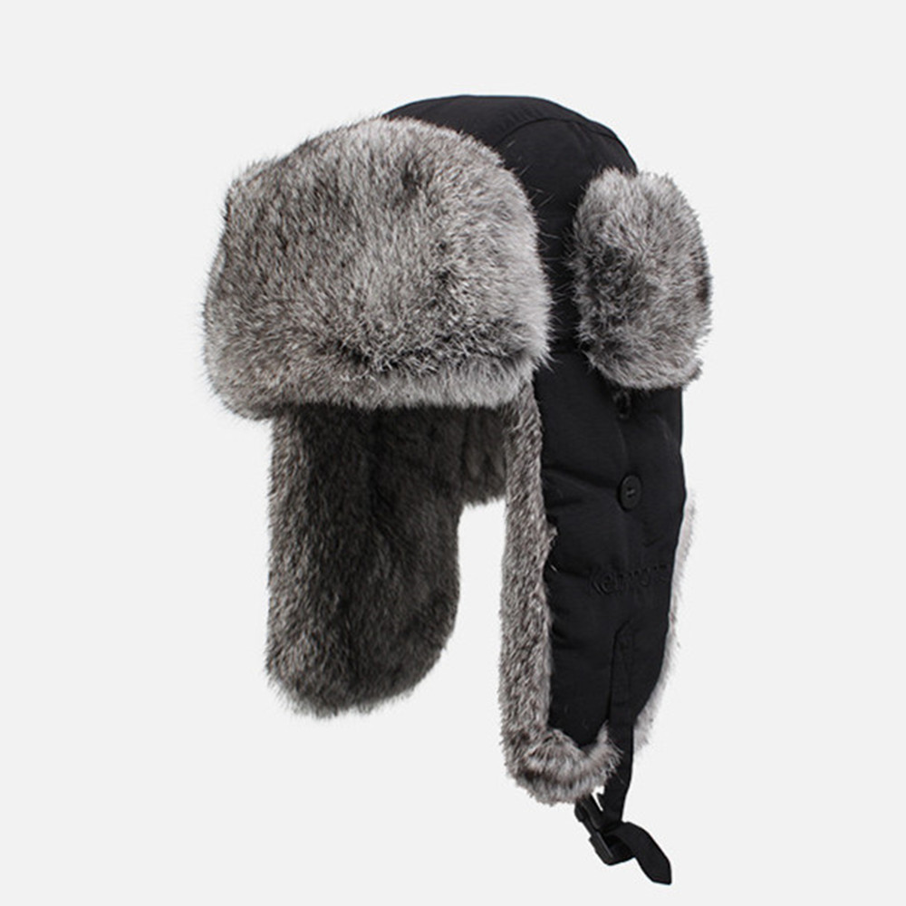 New Winter Men Hats Caps Black Wind Water Proof Earflap Trapper Hat 100% Rabbit  Fur Russia Bomber Cap 2130-in Skullies   Beanies from Apparel Accessories  on ... e733e0e8073