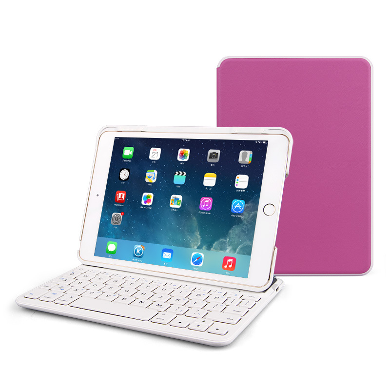 B.O.W Wireless Bluetooth Keyboard with Magnetic Force Protective Leather Stand Case For iPad Mini Series