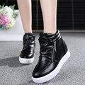 2017 Лифт Обувь на Молнии Женщины Скрытых Клин Повседневная Обувь Женщина Платформы Клинья Плоские Высокие Каблуки Мокасины Zapatos Mujer