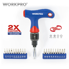 Free Shipping WORKPRO Dual Drive T-handle Express Ratcheting Driver Set