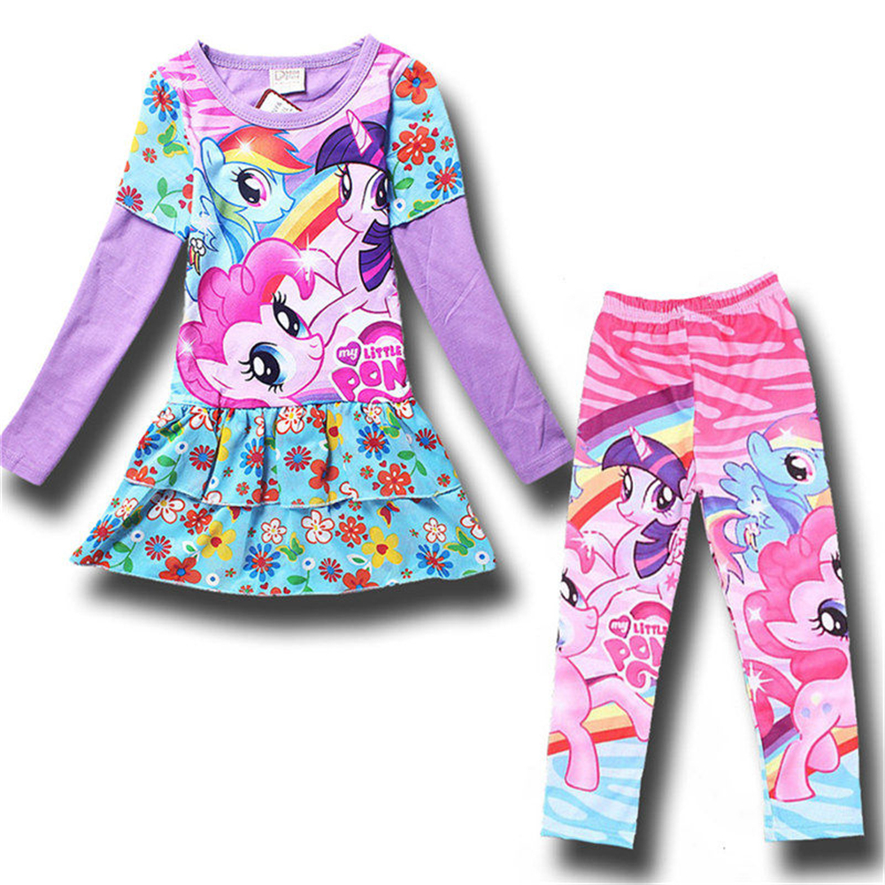 2017 My Little Girls Pony Tracksuit for Girls Cotton Print T Shirt and Legging Sportswear Costume Child Tight Pants Sports Suit